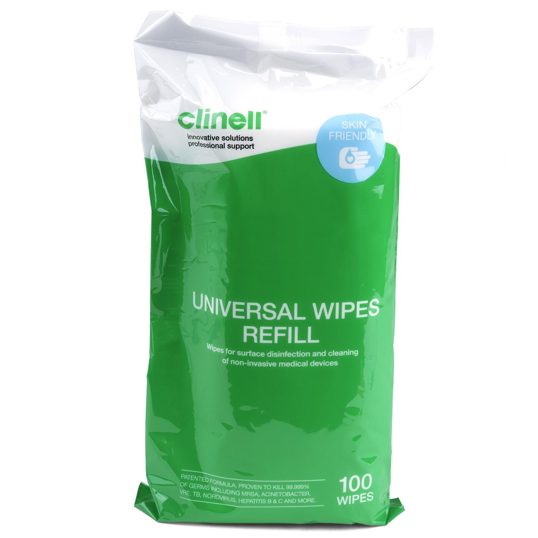 Clinell Universal lingettes désinfectantes surfaces médicales - sans alcool - recharge tube (100 pc)