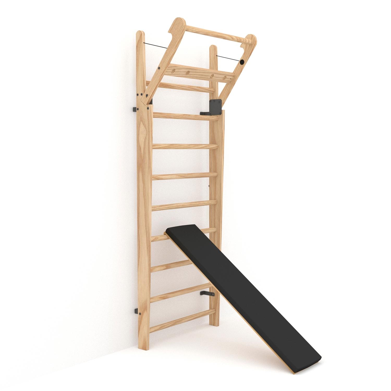 Plank schuin Nohrd wallbar - zwart leder