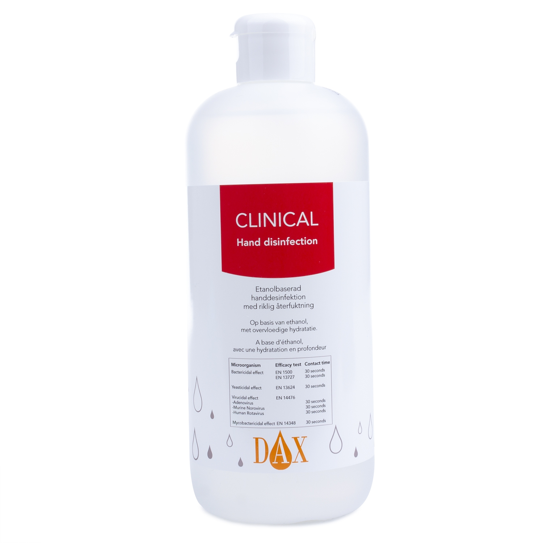 Dax Clinical handontsmetting 75% - doseerdop + pompje - 500 ml