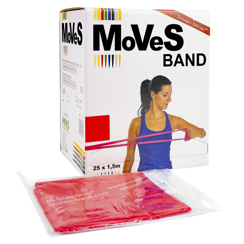MoVeS oefenband - 1,5 m - medium/rood - verdeeldoos 25 stuks