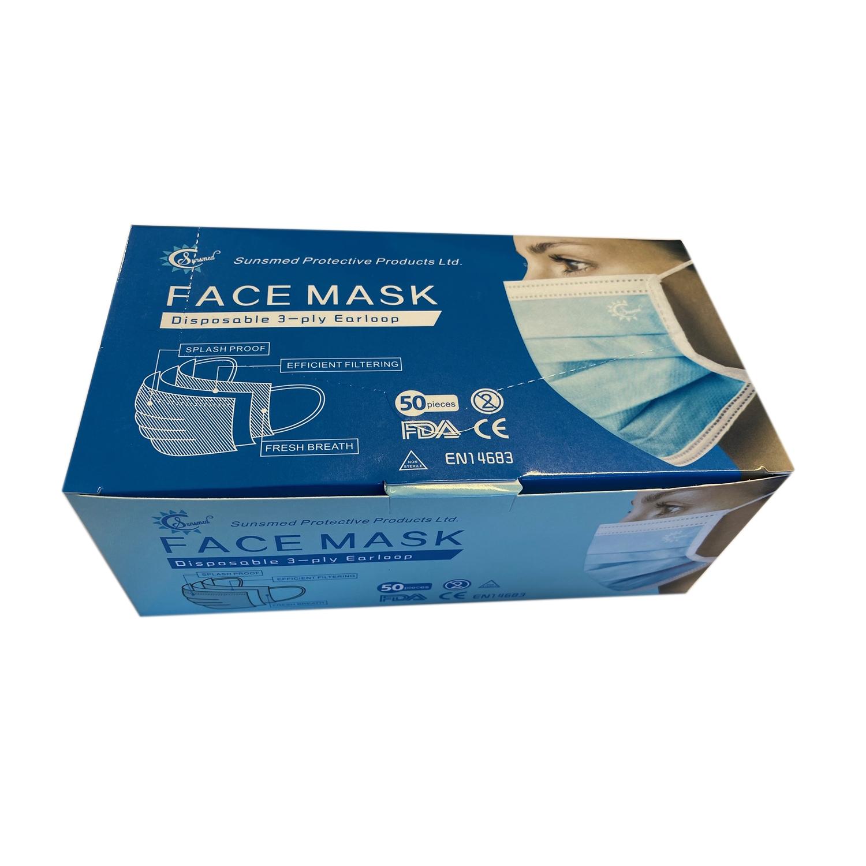 Mondmasker chirurgisch type IIR - 3 lagen - oorelastieken - blauw (50 st)