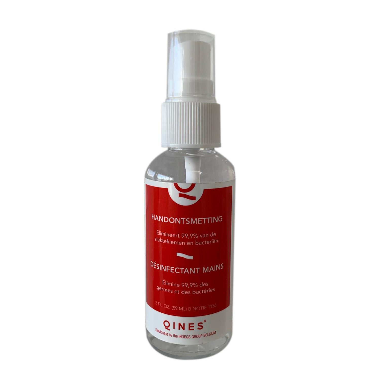 Qines handontsmetting 70% - pocketspray - 59 ml (hervulbaar)